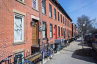 Tidy row houses the Red Hook neighborhood of Brooklyn in New York on Saturday, March 12, 2016.  (© Richard B. Levine)