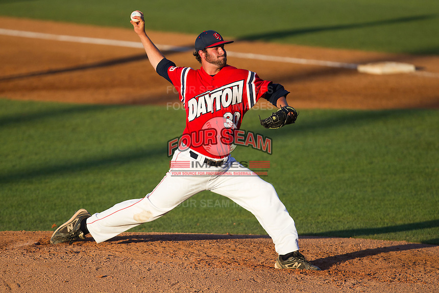 Starting pitcher Mike Hauschild #30 of the Dayton Flyers delivers during the NCAA Tournament Regional baseball game against the Texas A&M Aggies on June 1, 2012 at Blue Bell Park in College Station, Texas. Texas A&M defeated Dayton 4-1. (Andrew Woolley/Four Seam Images)..
