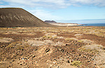Inland sand dune landscape view near Agujas Chicas volcano, La Isla Graciosa, Lanzarote, Canary Islands, Spain