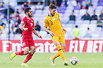 Milos Degenek of Australia (R) is followed by Mousa Mohammad Suleiman of Jordan during the AFC Asian Cup UAE 2019 Group B match between Australia (AUS) and Jordan (JOR) at Hazza Bin Zayed Stadium on 06 January 2019 in Al Ain, United Arab Emirates. Photo by Marcio Rodrigo Machado / Power Sport Images