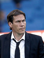 Calcio, Serie A: Roma vs Empoli. Roma, stadio Olimpico, 17 ottobre 2017.<br /> Roma&rsquo;s coach Rudi Garcia waits for the start of the Italian Serie A football match between Roma and Empoli at Rome's Olympic stadium, 17 October 2015.<br /> UPDATE IMAGES PRESS/Isabella Bonotto