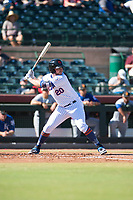 Scottsdale Scorpions first baseman Peter Alonso (20), of the New York Mets organization, at bat during an Arizona Fall League game against the Surprise Saguaros at Scottsdale Stadium on October 26, 2018 in Scottsdale, Arizona. Surprise defeated Scottsdale 3-1. (Zachary Lucy/Four Seam Images)