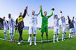 Södertälje 2013-03-31 Fotboll Allsvenskan , Syrianska FC - Kalmar FF :  .Kalmar FF jublar och tackar fansen efter matchen. målvakt 1 Lars Cramer , 2 Markus Thorbjörnsson ,  målvakt 99 Etrit Berisha ,  29 Romario Pereira Sipiao , 13 Emin Nouri.( Foto: Kenta Jönsson ) Nyckelord:  jubel glädje lycka glad happy