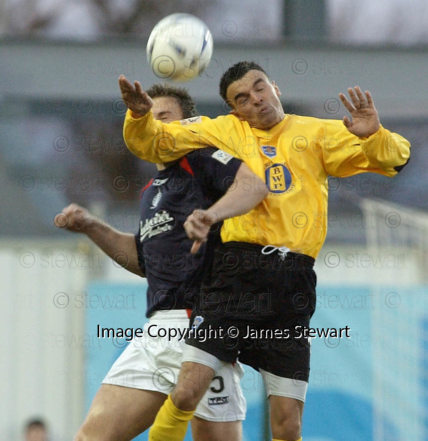 18/12/2004  Copyright Pic : James Stewart.File Name : jspa12_falkirk_v_qots.MARK CAMPBELL AND DEREK LYLE CHALLENGE FOR THE BALL........Payments to :.James Stewart Photo Agency 19 Carronlea Drive, Falkirk. FK2 8DN      Vat Reg No. 607 6932 25.Office     : +44 (0)1324 570906     .Mobile   : +44 (0)7721 416997.Fax         : +44 (0)1324 570906.E-mail  :  jim@jspa.co.uk.If you require further information then contact Jim Stewart on any of the numbers above.........