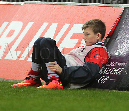 14.11.2015.  Thomond Park, Limerick, Ireland. European Rugby Champions Cup. Munster versus Benetton Treviso. A ball boy keeps an eye on the action at Thomond Park.