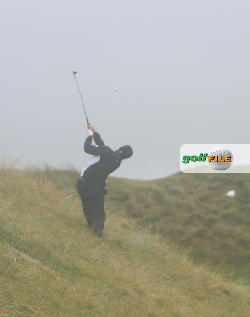 Simon Ward (Co. Louth) on the 4th during the South of Ireland Amateur Open Championship Final at Lahinch Golf Club  31th July 2013 <br /> Picture:  Thos Caffrey / www.golffile.ie