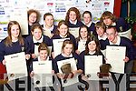 Students from Pobalscoil Inbhear Sce?ine, Kenmare who received their awards at the Young Entrepreneur Programme Awards Ceremony held in the Malton Hotel on Friday. Pictured are Louise Twomey, Siobha?n O'Shea, Lisa Quill, Karen Harrington, Morgan Darcy, Ashling Harrington, Cora Kingerlee, Amanda Harrington, Helen Tophan, Denise O'Sullivan, Ciara O'Sullivan, James O'Donoghue, Irial O Connail and Michael Egar.   Copyright Kerry's Eye 2008