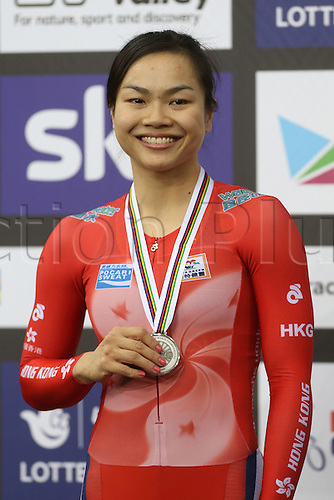 04.03.2016. Lee valley Velo Centre. London England. UCI Track Cycling World Championships Womens 500m time trial.  LEE Wai Sze (HKG) with silver medal