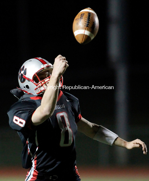 Southbury, CT- 29, October 2010-102910CM06 Pomperaug's James Reel just misses a pass Friday night against Joel Barlow in Southbury.  Pomperaug defeated Barlow, 44-13.   Christopher Massa Republican-American