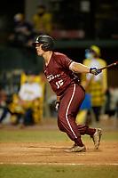 Macon Bacon Will Olson (15) bats during a Coastal Plain League game against the Savannah Bananas on July 15, 2020 at Grayson Stadium in Savannah, Georgia.  (Mike Janes/Four Seam Images)