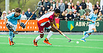 ALMERE - Hockey - Hoofdklasse competitie heren. ALMERE-HGC (0-1) .   Terrance Pieters (Almere)  met links Steijn van Heijningen (HGC) . COPYRIGHT KOEN SUYK