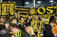 Borussia Dortmund fans ahead of the UEFA Europa League match between Tottenham Hotspur and Borussia Dortmund at White Hart Lane, London, England on 17 March 2016. Photo by David Horn / PRiME Media Images