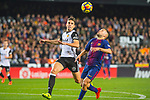 Martin Montoya Torralbo of Valencia CF competes for the ball with Jordi Alba Ramos of FC Barcelona during the La Liga 2017-18 match between Valencia CF and FC Barcelona at Estadio de Mestalla on November 26 2017 in Valencia, Spain. Photo by Maria Jose Segovia Carmona / Power Sport Images