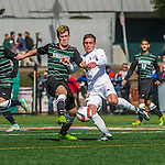 3 October 2015: Binghamton University Bearcat Midfielder Mike Kubik, a Junior from Wallington, NJ, battles University of Vermont Catamount Forward Shane Haley, a Junior from Williston, VT, during game action at Virtue Field in Burlington, Vermont. The Bearcats held on to defeat the Catamounts 2-1 in America East conference play. Mandatory Credit: Ed Wolfstein Photo *** RAW (NEF) Image File Available ***