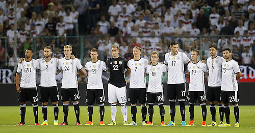 31.08.2016 Moenchengladbach, Germany. International football freindly. Germany versus Finland. Bastian Schweinsteiger of Germany (7) stands with his team for his last game prior the friendly match between Germany and Finland, Borussia Park