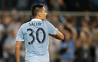 Kansas City, KS - Wednesday September 20, 2017: Dániel Sallói scores during the 2017 U.S. Open Cup Final Championship game between Sporting Kansas City and the New York Red Bulls at Children's Mercy Park.