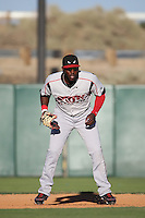 Marcus Davis (6) of the Lake Elsinore Storm in the field at first base during a game against the Lancaster JetHawks at The Hanger on August 29, 2015 in Lancaster, California. Lancaster defeated Lake Elsinore 7-4. (Larry Goren/Four Seam Images)