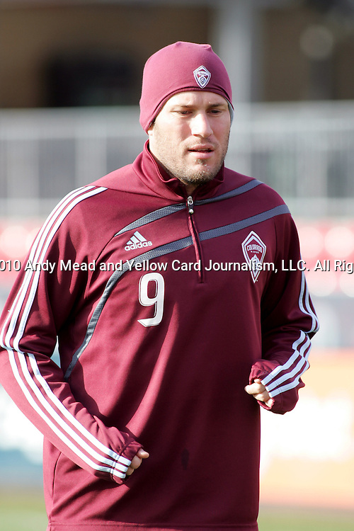 20 November 2010:  Conor Casey (9) of the Colorado Rapids.  Colorado Rapids held a practice at BMO Field, Toronto, Ontario, Canada as part of their preparations for MLS Cup 2010, Major League Soccer's championship game.