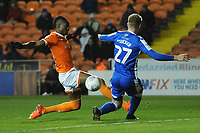Blackpool's Armand Gnanduillet is tackled by Gillingham's Jack Tucker<br /> <br /> Photographer Kevin Barnes/CameraSport<br /> <br /> The EFL Sky Bet League One - Blackpool v Gillingham - Tuesday 11th February 2020 - Bloomfield Road - Blackpool<br /> <br /> World Copyright © 2020 CameraSport. All rights reserved. 43 Linden Ave. Countesthorpe. Leicester. England. LE8 5PG - Tel: +44 (0) 116 277 4147 - admin@camerasport.com - www.camerasport.com