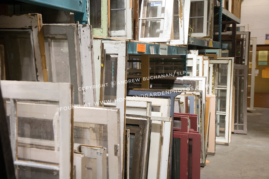 The recovery, salvage, and re-sale of used building products is a growing buiness that diverts millions of pounds of usable goods from landfills, and prevents wasteful, often needless, manufacture and overbuying of new products.  The ReStore's Seattle location, one of two in western Washington, offers windows (shown here) and doors, cabinets and countertops, building and plumbing materials, electrical supplies and lighting fixtures, and dozens of other categories of products, all salvaged from local deconstruction efforts.