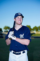AZL Brewers Pat McInerney (62) poses for a photo prior to a game against the AZL Cubs at Maryvale Baseball Park in Phoenix, Arizona. AZL Cubs defeated the AZL Brewers 9-1. (Zachary Lucy/Four Seam Images)