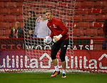 Simon Moore of Sheffield Utd warms up during the Championship match at the Bramall Lane Stadium, Sheffield. Picture date 27th September 2017. Picture credit should read: Simon Bellis/Sportimage