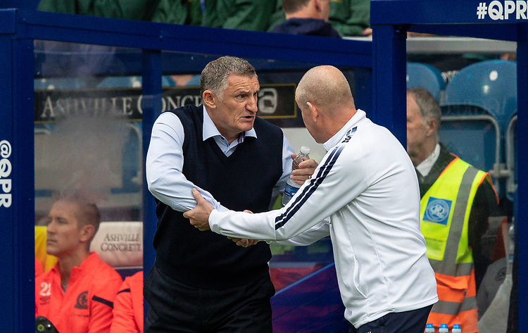 Blackburn Rovers' manager Tony Mowbray is greeted by Queens Park Rangers' manager Mark Warburton (right) <br /> <br /> Photographer Andrew Kearns/CameraSport<br /> <br /> The EFL Sky Bet Championship - Queens Park Rangers v Blackburn Rovers - Saturday 5th October 2019 - Loftus Road - London<br /> <br /> World Copyright © 2019 CameraSport. All rights reserved. 43 Linden Ave. Countesthorpe. Leicester. England. LE8 5PG - Tel: +44 (0) 116 277 4147 - admin@camerasport.com - www.camerasport.com