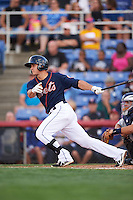 Binghamton Mets third baseman T.J. Rivera (21) at bat during a game against the Trenton Thunder on August 8, 2015 at NYSEG Stadium in Binghamton, New York.  Trenton defeated Binghamton 4-2.  (Mike Janes/Four Seam Images)