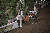 World Champion Wout Van Aert (BEL/Crelan-Vastgoedservice) on the steep descent<br /> <br /> Brico-cross Geraardsbergen 2016<br /> U23 + Elite Mens race