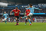 Leroy Sane of Manchester City takes a shot on goal during the premier league match at the Etihad Stadium, Manchester. Picture date 7th April 2018. Picture credit should read: Simon Bellis/Sportimage