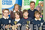 Winners of the U11 section of the Credit Union Chapter 23 Quiz held in the ITT North Campus on Sunday afternoon representing Spa NS were l/r Anthony O'Doherty, Cathal Hanafin, Sean Tansley and Sean Higgins with Vice Chair of Chapter 23 Mary O'Shea and teacher Tom Crowley at the back............................................................................................................................................. ............