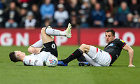 Bolton Wanderers' Andrew Taylor competing with Derby County's Harry Wilson <br /> <br /> Photographer Andrew Kearns/CameraSport<br /> <br /> The EFL Sky Bet Championship - Derby County v Bolton Wanderers - Saturday 13th April 2019 - Pride Park - Derby<br /> <br /> World Copyright &copy; 2019 CameraSport. All rights reserved. 43 Linden Ave. Countesthorpe. Leicester. England. LE8 5PG - Tel: +44 (0) 116 277 4147 - admin@camerasport.com - www.camerasport.com