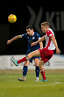 30th November 2019; Dens Park, Dundee, Scotland; Scottish Championship Football, Dundee Football Club versus Queen of the South; Jamie Ness of Dundee challenges for the ball with Dan Pybus of Queen of the South  - Editorial Use