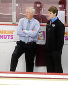 Jerry York (BC - Head Coach), Brian Billett (Junior Monarchs) - The Boston College Eagles defeated the Merrimack College Warriors 4-3 on Friday, October 30, 2009, at Conte Forum in Chestnut Hill, Massachusetts.