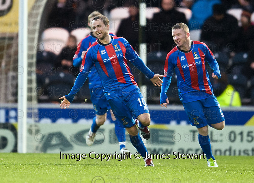 CALEY'S ANDREW SHINNIE CELEBRATES AFTER HE SCORES INVERNESS' FIRST GOAL..03/12/2011   Copyright  Pic : James Stewart.sct_jsp005_st_mirren_v_ict  .James Stewart Photography 19 Carronlea Drive, Falkirk. FK2 8DN      Vat Reg No. 607 6932 25.Telephone      : +44 (0)1324 570291 .Mobile              : +44 (0)7721 416997.E-mail  :  jim@jspa.co.uk.If you require further information then contact Jim Stewart on any of the numbers above.........