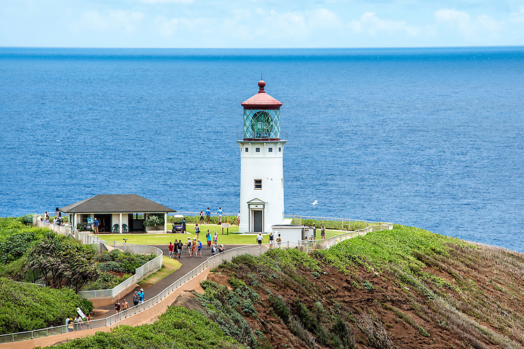 The Kilauea Point Lighthouse is located in the Kilauea Point National Wildlife Refuge on the north shore of Kauai, Hawaii.
