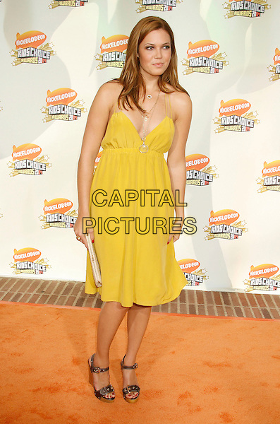 MANDY MOORE.20th Annual Nickelodeon Kids' Choice Awards held at UCLA's Pauley Pavilion, Westwood, California, USA,.31 March 2007..full length yellow dress black wooden wedges buckles.CAP/ADM/RE.©Russ Elliot/AdMedia/Capital Pictures.
