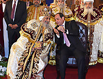 "Egyptian Coptic Pope Tawadros II (L), Pope of the Coptic Orthodox Church of Alexandria, and Patriarch of Saint Marc Episcopate receives Egyptian President Abdel Fattah al-Sisi (R), at the new Coptic Cathedral at the new Coptic Cathedral ""The Nativity of Christ"", in Cairo, Egypt, January 6, 2018. Photo by Egyptian President Office"