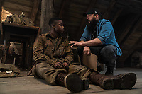 Overlord (2018)<br /> Jovan Adepo, Director Julius Avery on the set<br /> *Filmstill - Editorial Use Only*<br /> CAP/MFS<br /> Image supplied by Capital Pictures