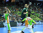 09.06.2019, Max Schmeling Halle, Berlin, GER, DHB,  1.HBL,  FUECHSE BERLIN VS. HSG Wetzlar,<br /> DHB regulations prohibit any use of photographs as image sequences and/or quasi-video<br /> im Bild Paul Drux (Fuechse Berlin #95),<br /> Olle Forsell Schefvert (HSG Wetzlar #25), Stefan Cavor (HSG Wetzlar #77)<br /> <br />      <br /> Foto © nordphoto / Engler
