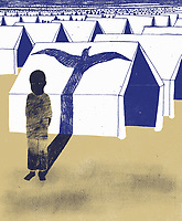 Boy standing in a camp casting a bird shadow on tent ExclusiveImage