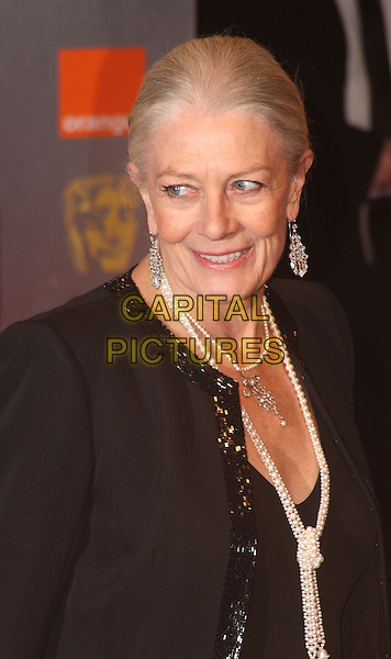 VANESSA REDGRAVE .Arrivals at the Orange British Academy Film Awards 2010 at the Royal Opera House, Covent Garden, London, England..February 21st, 2010.BAFTA BAFTAs half length black jacket pearl necklace dangling silver earrings .CAP/JIL.©Jill Mayhew/Capital Pictures