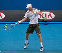 TOMAS BERDYCH (CZE) against KEVIN ANDERSON (RSA) in the third round of the men's singles. Tomas Berdych beat Kevin Anderson 7-6 7-6 6-1..20/01/2012, 20th January 2012, 20.01.2012..The Australian Open, Melbourne Park, Melbourne,Victoria, Australia.@AMN IMAGES, Frey, Advantage Media Network, 30, Cleveland Street, London, W1T 4JD .Tel - +44 208 947 0100..email - mfrey@advantagemedianet.com..www.amnimages.photoshelter.com.