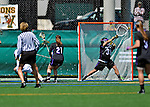 28 April 2012: University at Albany Great Dame goalkeeper Anna Berman, a Sophomore from Garnerville, NY, has one get by her during a game against the University of Vermont Catamounts at Virtue Field in Burlington, Vermont. The Lady Danes defeated the Lady Cats 12-10 in America East Women's Lacrosse. Mandatory Credit: Ed Wolfstein Photo