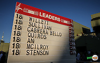 The final scoreboard. Danny Willett (ENG) wins the Final Round of the 2016 Omega Dubai Desert Classic, played on the Emirates Golf Club, Dubai, United Arab Emirates.  07/02/2016. Picture: Golffile | David Lloyd<br /> <br /> All photos usage must carry mandatory copyright credit (&copy; Golffile | David Lloyd)
