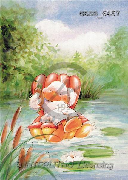 Ron, CUTE ANIMALS, Quacker, paintings, duck, river(GBSG6457,#AC#) Enten, patos, illustrations, pinturas