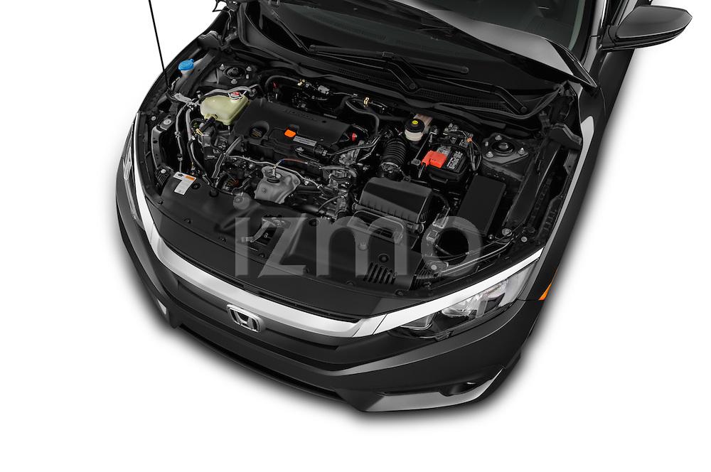 Car Stock 2018 Honda Civic LX 4 Door Sedan Engine  high angle detail view
