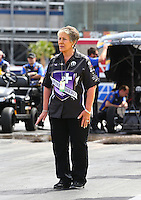 Apr 10, 2015; Las Vegas, NV, USA; NHRA sponsor Terry Chandler during qualifying for the Summitracing.com Nationals at The Strip at Las Vegas Motor Speedway. Mandatory Credit: Mark J. Rebilas-