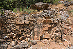The remains of the temple of Augustus in the ruins of the Greco-Roman religious center of Panias at Caesarea Philippi in the Hermon Springs (Banyas) Nature Reserve, a national park in northern Israel at the base of Mount Hermon.