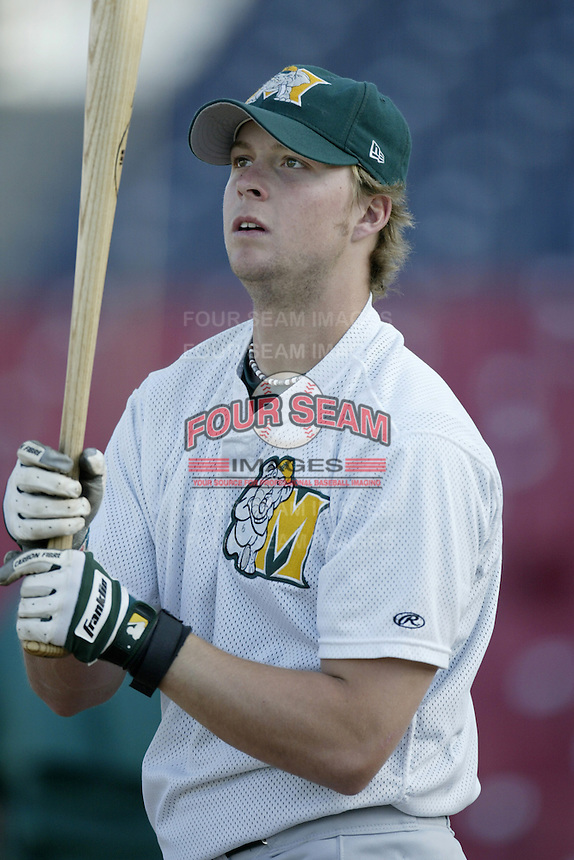Chris Tritle of the Modesto A's before a California League 2002 season game against the High Desert Mavericks at Mavericks Stadium, in Adelanto, California. (Larry Goren/Four Seam Images)